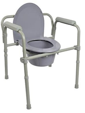 Folding Commode Chair McK Fixed Arm Steel Frame