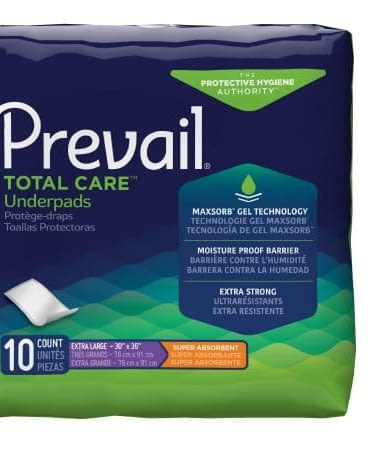 Underpad Prevail® Total Care™ 30 X 36 Inch Heavy Absorbency