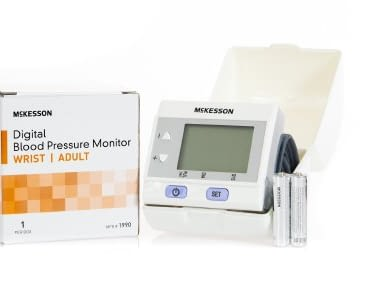 Aneroid Sphygmomanometer with Wrist Cuff McKesson Brand Automatic Inflation Wrist Adult One Size Fits Most