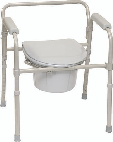 Folding Commode Chair Padded Fixed Arm Steel Frame 17 to 23 Inch Height (I EA)