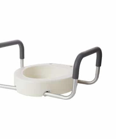 Raised Toilet Seat with Arms Drive Premium 3-1/2 Inch Height White 300 lbs.