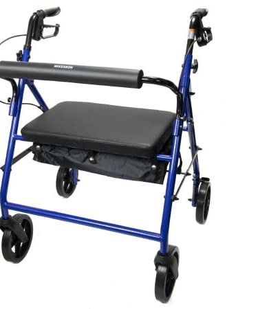 4 Wheel Rollator Bariatric McKesson 34 to 39 Inch Blue Folding Steel Frame