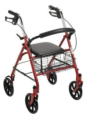 4 Wheel Rollator McKesson 31 to 37 Inch Red Folding Steel Frame
