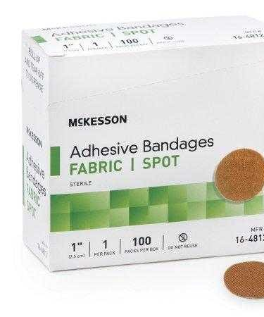 Adhesive Spot Bandage McKesson 1 Inch Fabric Round Tan Sterile