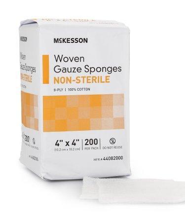 Gauze Sponge McKesson Cotton Gauze 8-Ply 4 X 4 Inch Square Non-Sterile (200/BG)