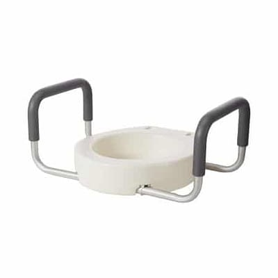 Raised Toilet Seat with Arms drive™ 3-1/2 Inch Height White 300 lbs. Weight