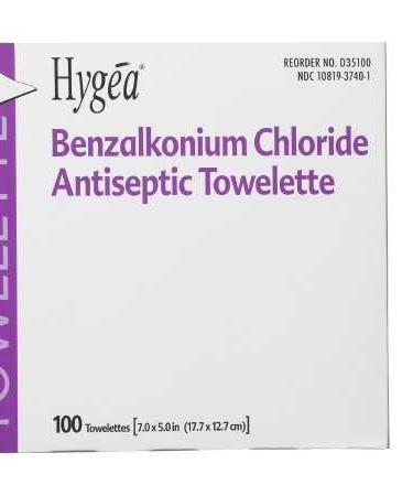Sanitizing Skin Wipe Hygea® Individual Packet BZK (Benzalkonium Chloride) Scented 100 Count