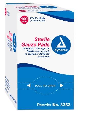 Dynarex Gauze Sponge Surgical 8-Ply 4 X 4 Inch Square Sterile  25/BX
