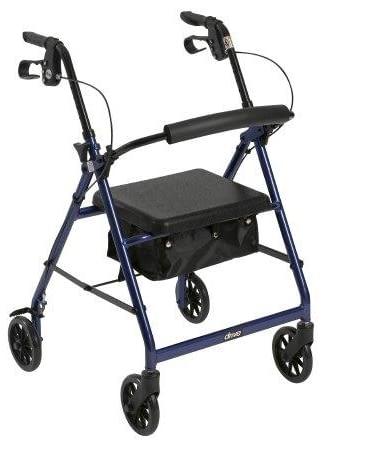 4 Wheel Rollator McKesson 32 to 37 Inch Blue Folding Aluminum