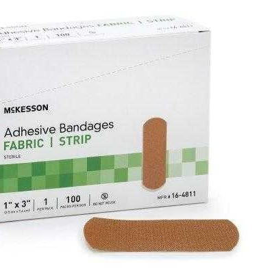 Adhesive Strip McKesson 1 X 3 Inch Fabric Rectangle Tan Sterilemetrix