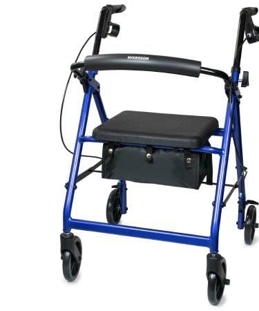 "4 Wheel Rollator McK 32 to 37 Inch Blue Folding Al  6"" WHLS BLU 300LB"