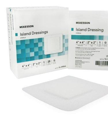 Adhesive Dressing McK 4 X 4 Inch Polypropylene / Rayon Square White Sterile (25/BX)