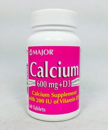 Major Calcium with Vitamin D3 Tablets - Calc w Vit D 600 mg, 60 Count